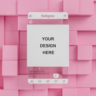 Maquete de mídia social de vidro do instagram em fundo rosa abstrato para apresentação de feed 3d render