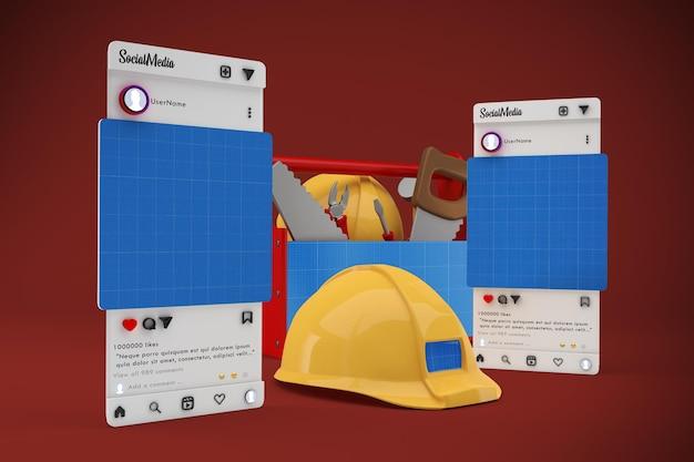 Maquete de mídia social do dia do trabalho