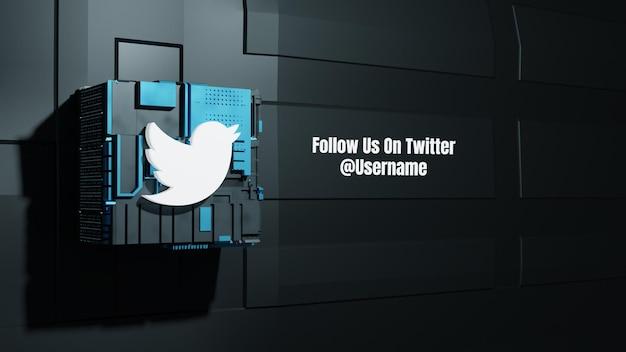 Maquete de mídia social do twitter siga-nos com fundo de tecnologia de caixa do futuro 3d