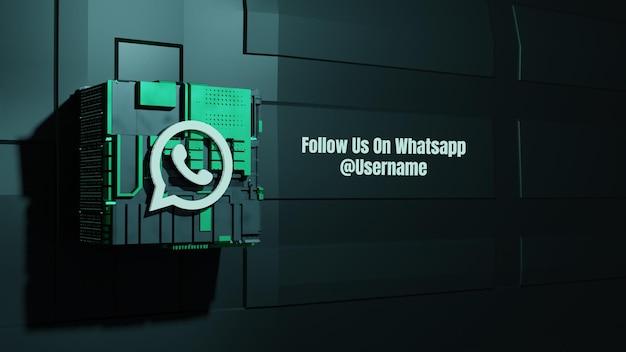 Maquete de mídia social do whatsapp siga-nos com fundo de tecnologia de caixa do futuro 3d