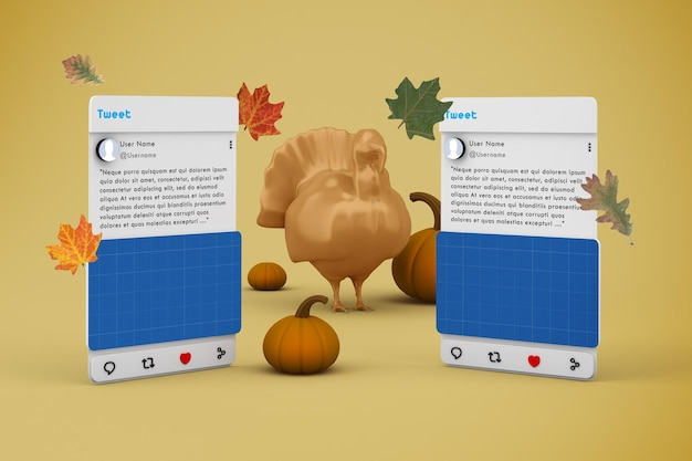 Maquete de mídia social v1 para o dia de ação de graças