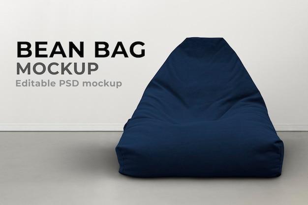 Maquete de mobília do saco de feijão psd no interior mínimo azul
