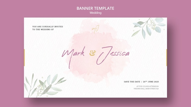 Maquete de modelo de banner de casamento lindo