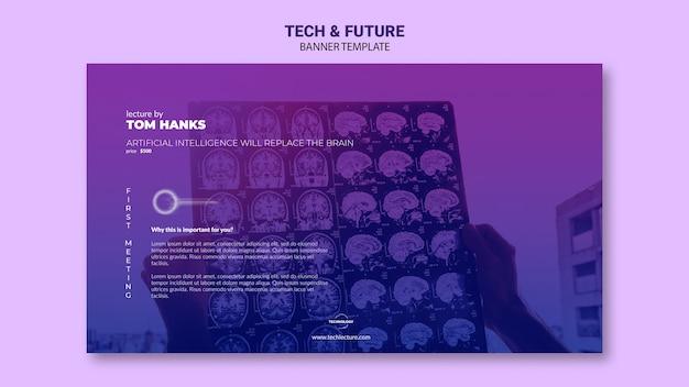 Maquete de modelo de banner de tecnologia e futuro conceito