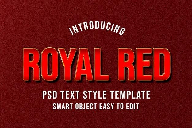 Maquete de modelo de estilo de texto vermelho real psd