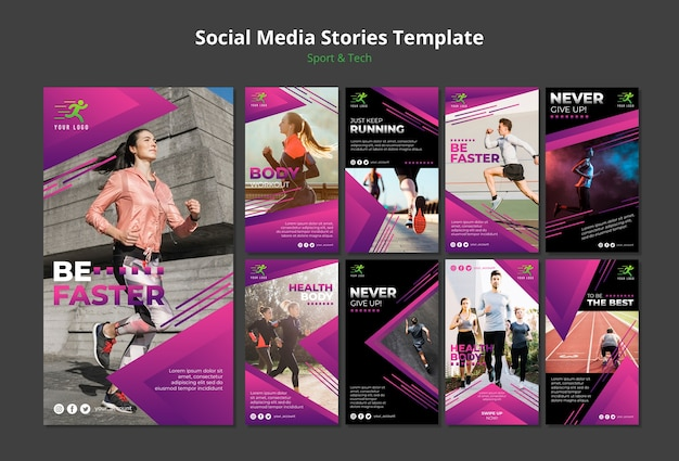 Maquete de modelo de histórias de mídia social de conceito de tecnologia e esporte