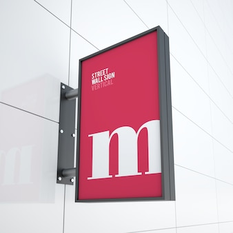 Maquete de moderno vertical pendurado placa de sinal do logotipo