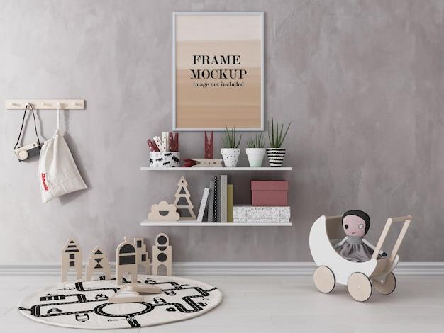 Maquete de moldura branca em quarto infantil