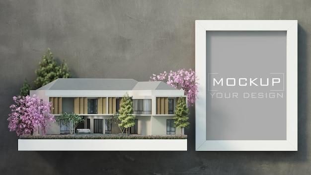 Maquete de moldura branca na parede de concreto com casa moderna