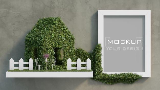 Maquete de moldura branca na parede de concreto com um mínimo de casa verde