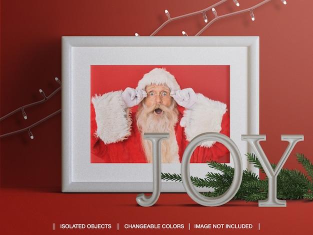 Maquete de moldura de cartão de foto de férias com decoração de luzes e filiais de natal
