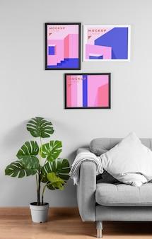Maquete de moldura de design de interiores
