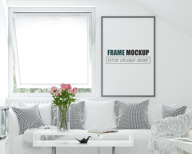 Maquete de moldura de design de sala de estar moderna