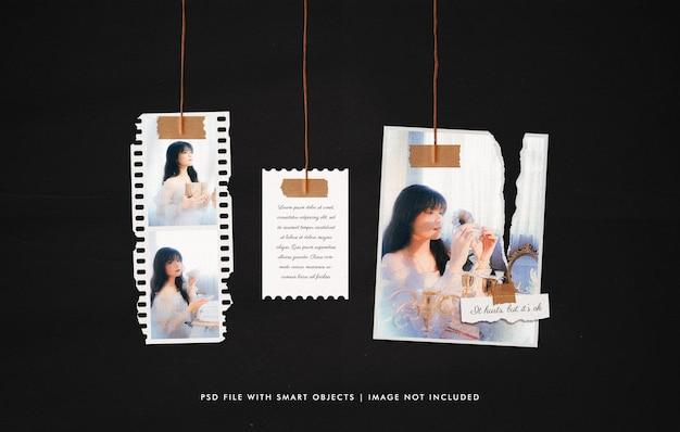Maquete de moldura de filme vintage rasgado pendurado Psd Premium