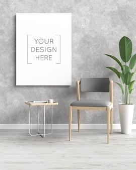 Maquete de moldura de foto com cadeira e planta