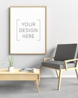 Maquete de moldura de foto com cadeira