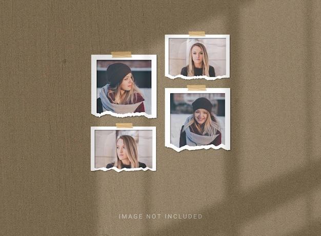 Maquete de moldura de foto cortada ou rasgada