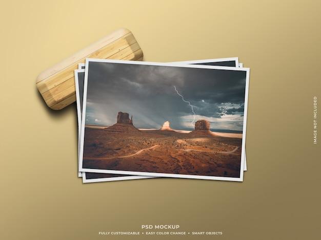 Maquete de moldura de foto de papel mínimo e limpo