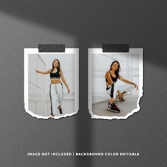 Maquete de moldura de foto de papel rasgado de retrato duplo com sombra
