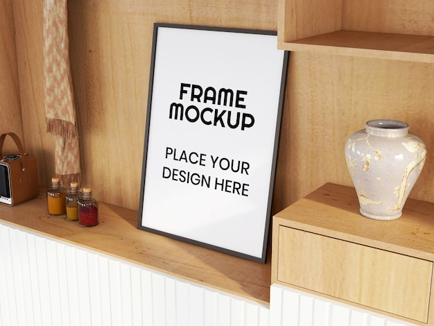 Maquete de moldura de foto em branco na mesa