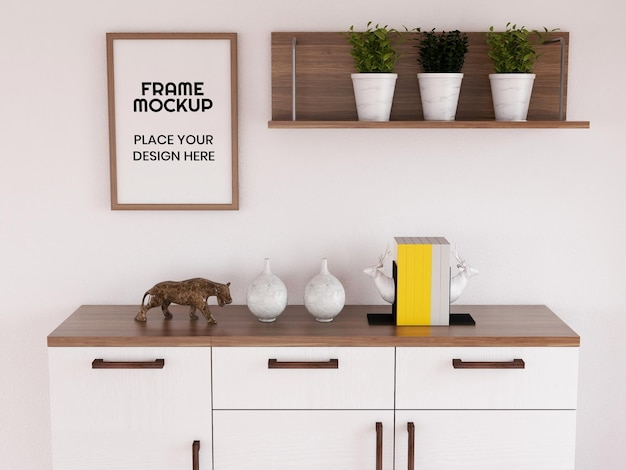 Maquete de moldura de foto em branco na sala de estar