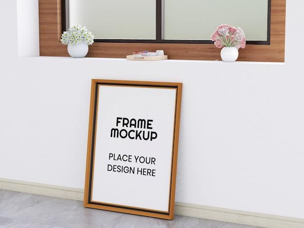 Maquete de moldura de foto em branco no chão
