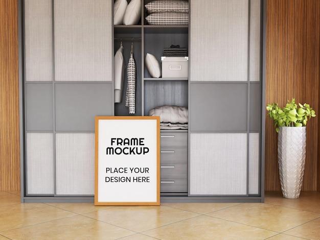 Maquete de moldura de foto em branco realista no chão