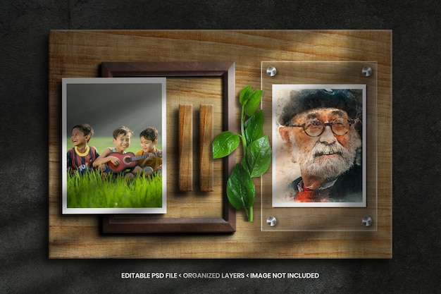 Maquete de moldura de foto em fundo de textura de madeira com folha