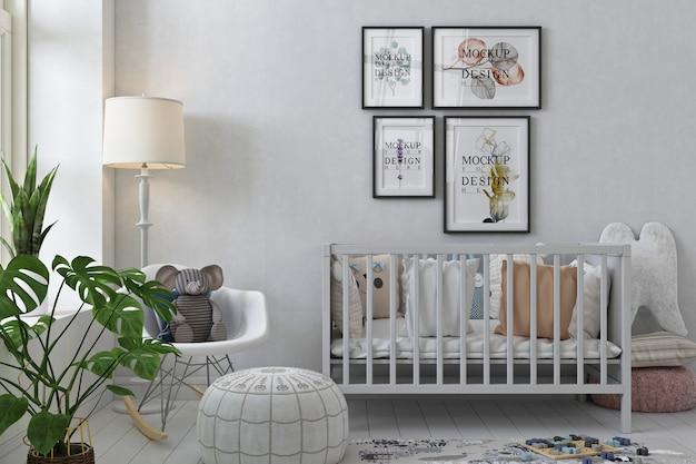 Maquete de moldura de foto em quarto branco moderno do berçário