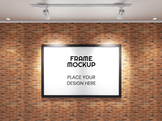Maquete de moldura de foto grande na parede de tijolos