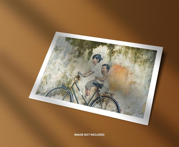 Maquete de moldura de foto horizontal com sobreposição de sombra