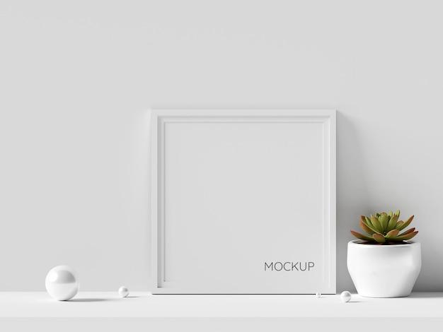 Maquete de moldura de foto mínima com planta