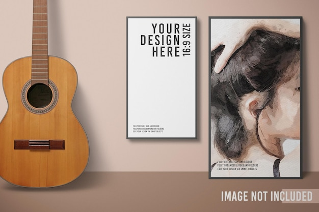 Maquete de moldura de foto minimalista moderna