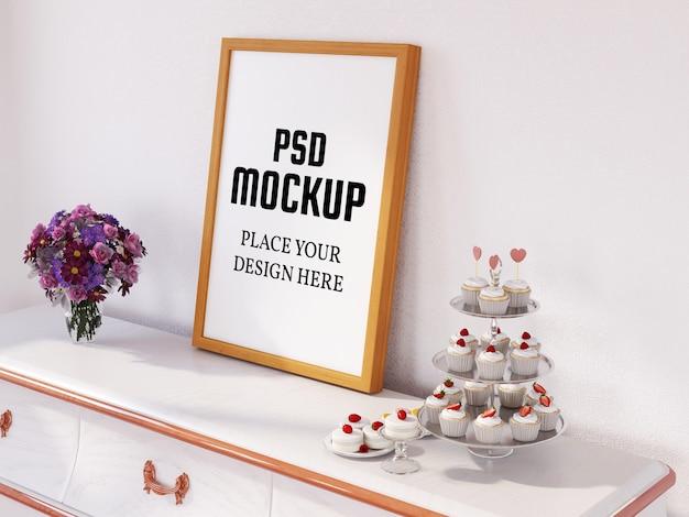 Maquete de moldura de foto na mesa branca