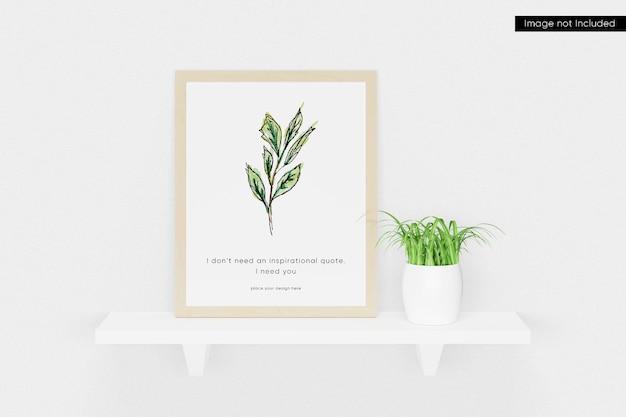 Maquete de moldura de foto na parede com planta