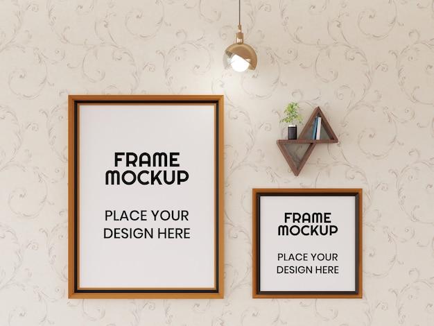 Maquete de moldura de foto na parede