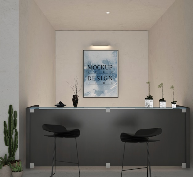 Maquete de moldura de foto na recepção de um hotel moderno com balcão de recepção