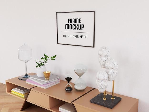 Maquete de moldura de foto na sala de estar moderna
