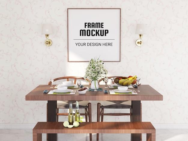 Maquete de moldura de foto na sala de jantar
