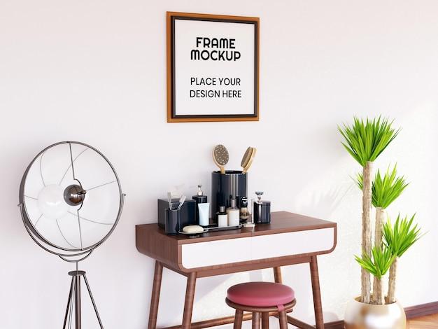 Maquete de moldura de foto na sala de maquiagem