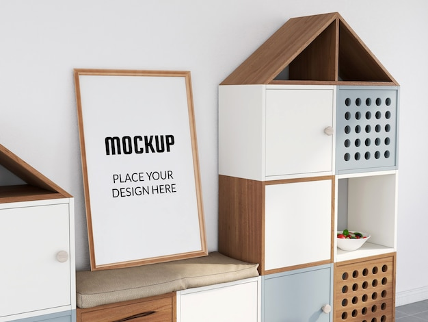 Maquete de moldura de foto no interior de armazenamento infantil
