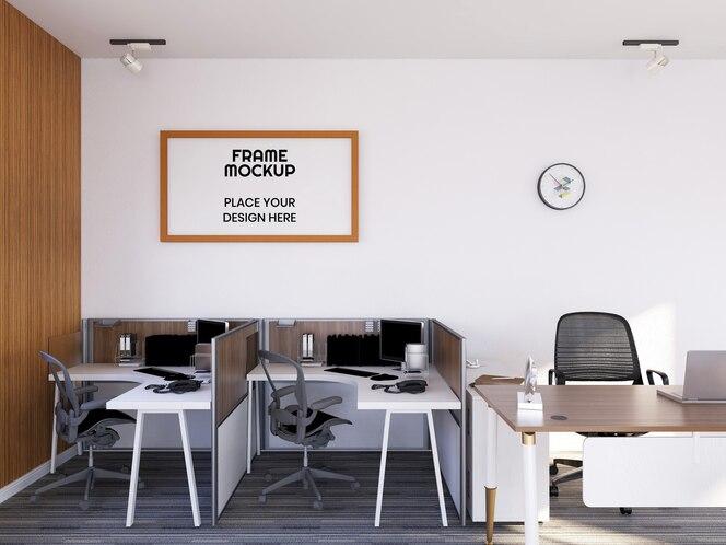 Maquete de moldura de foto para sala de escritório interna