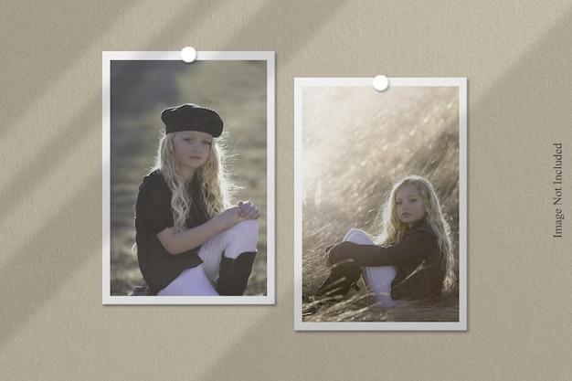 Maquete de moldura de foto polaroid com sobreposição de sombra