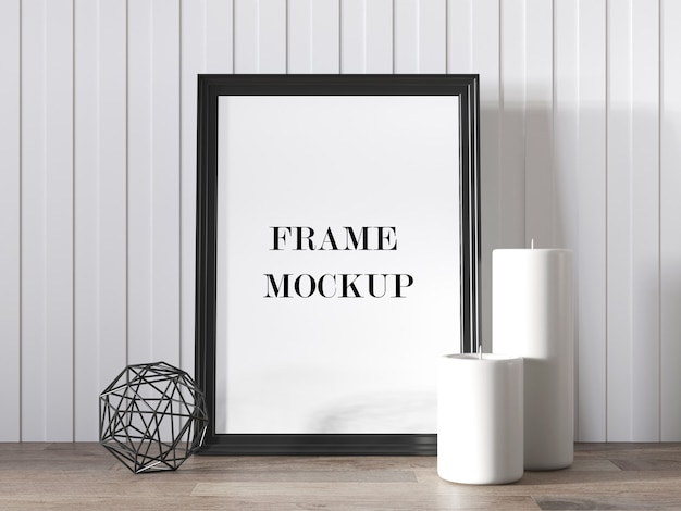 Maquete de moldura de foto preta ao lado de velas 3d render