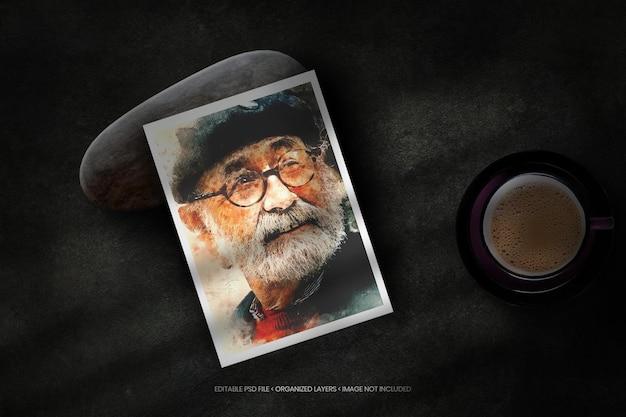 Maquete de moldura de foto realista com sobreposição de sombra