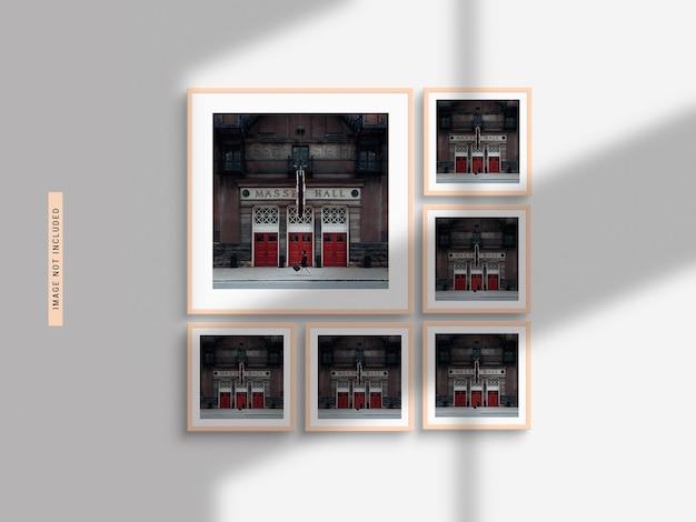 Maquete de moldura de foto realista com sombra