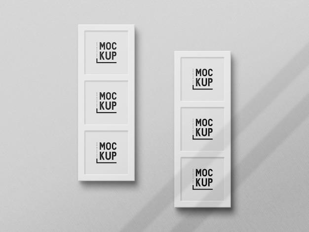 Maquete de moldura de foto realista de tamanho quadrado de vista superior