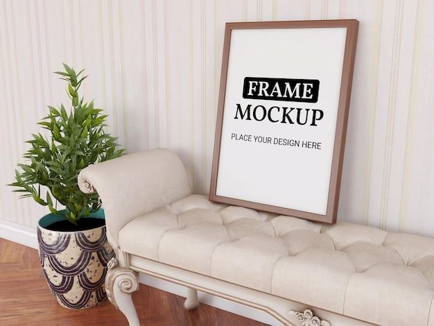 Maquete de moldura de foto realista na cadeira