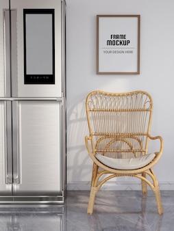 Maquete de moldura de foto realista na cozinha moderna