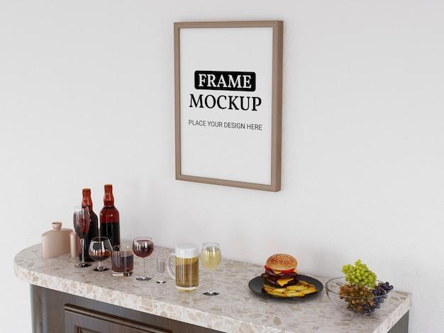 Maquete de moldura de foto realista na cozinha